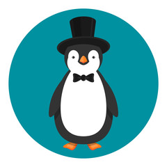 penguin in top hat and bow tie