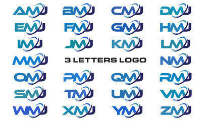 3 letters modern generic swoosh logo AMJ, BMJ, CMJ, DMJ, EMJ, FMJ, GMJ, HMJ, IMJ, JMJ, KMJ, LMJ, MMJ, NMJ, OMJ, PMJ, QMJ, RMJ, SMJ, TMJ, UMJ, VMJ, WMJ, XMJ, YMJ, ZMJ