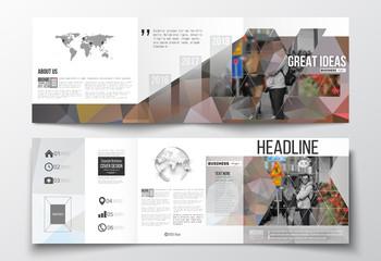 Set of tri-fold brochures, square design templates. Polygonal background, blurred image, urban landscape, cityscape, modern stylish triangular vector texture.