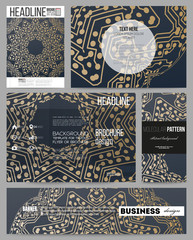 Business templates for presentation, brochure, flyer or booklet. Golden microchip pattern, abstract template with connecting dots and lines, connection structure. Digital scientific vector background
