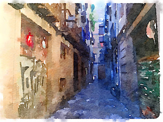 Deurstickers Digital watercolor painting of an Alley in Barcelona on a sunny day.