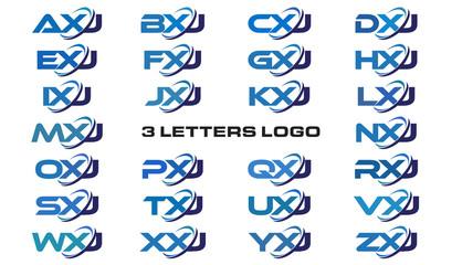 3 letters modern generic swoosh logo AXJ, BXJ, CXJ, DXJ, EXJ, FXJ, GXJ, HXJ, IXJ, JXJ, KXJ, LXJ, MXJ, NXJ, OXJ, PXJ, QXJ, RXJ, SXJ, TXJ, UXJ, VXJ, WXJ, XXJ, YXJ, ZXJ