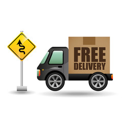 free delivery truck traffic road sign vector illustration eps 10