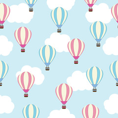 Seamless background of baby shower illustration with cute hot air balloon on blue background suitable for kid wallpaper, postcard, and scrap paper