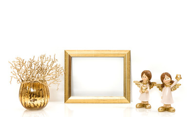 Golden frame Christmas decorations Angel