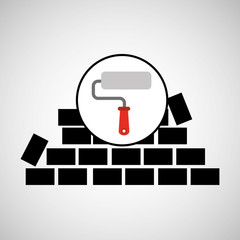 wall brick paint roller design vector illustration eps 10