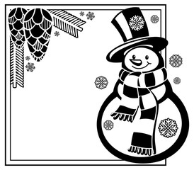 Black and white frame with funny snowman  and pine cones