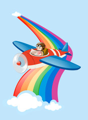 Pilot flying jet plane over the rainbow