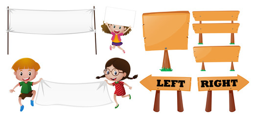 Kids and different designs of sign