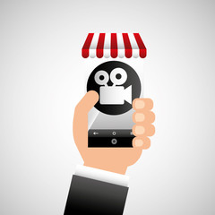 hand holding e-shopping movie design vector illustration eps 10