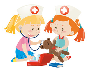 Kids playing nurse with doll
