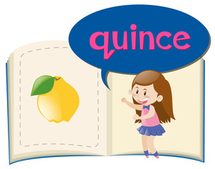 Vocabulary book with word quince