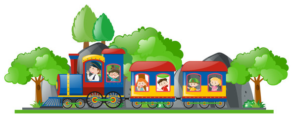Children riding on train