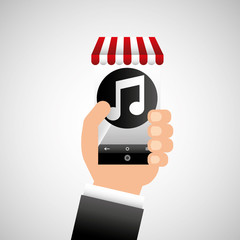 hand holding e-shopping music design vector illustration eps 10