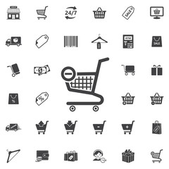 Vector shopping cart icon on the white background