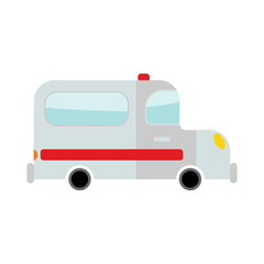 Ambulance isolated. Transport on white background. Car in cartoo