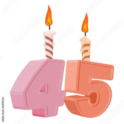 """""""45 years birthday. Number with festive candle for holiday ..."""