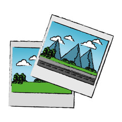 Picture of landscape icon. Image photography digital and photo theme. Isolated design. Vector illustration
