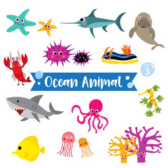 Ocean Animal cartoon on white background.  Lobster. Starfish. Octopus. Shark. Jellyfish. Coral. Tang. Sea Dragon. Urchin. Swordfish. Nudibranch. Dugong. Vector illustration. Set 3.