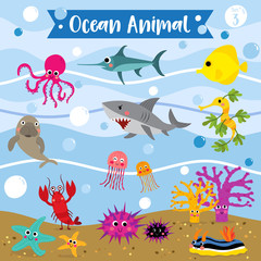Ocean Animal cartoon underwater background. Lobster. Starfish. Octopus. Shark. Jellyfish. Coral. Tang. Sea Dragon. Urchin. Swordfish. Nudibranch. Dugong. Vector illustration. Set 3.