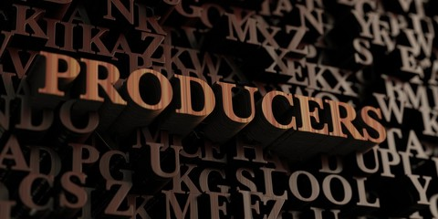 Producers - Wooden 3D rendered letters/message.  Can be used for an online banner ad or a print postcard.