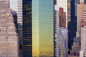 Skyline at morning light, skyscrapers details, Manhattan, New York City, United States, USA