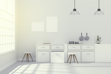 3D rendering : illustration of White interior modern kitchen room design with two vintage lamp hanging.shiny gray floor.sun light shining from outside of the room.design your home concept
