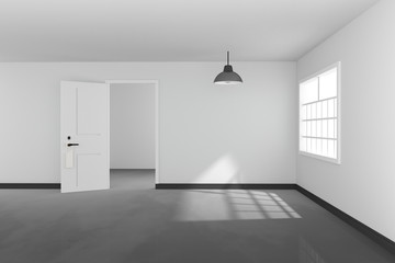 3D rendering : illustration of White interior empty living room design with a vintage lamp hanging.shiny gray floor.sun light shining from outside of the room.design your home concept