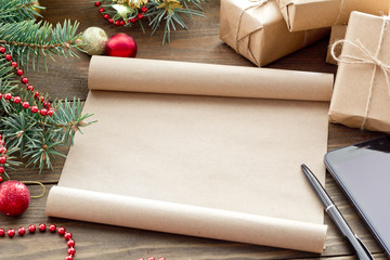Christmas scroll, a letter to Santa Claus