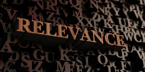 Relevance - Wooden 3D rendered letters/message.  Can be used for an online banner ad or a print postcard.