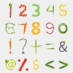 Fruit font Digits symbols numbers. Vector