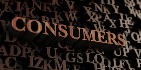 Consumers - Wooden 3D rendered letters/message.  Can be used for an online banner ad or a print postcard.