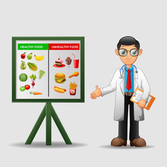 Nutritionist illustration. Doctor shows poster about dietetic healthy and unhealthy food. vector