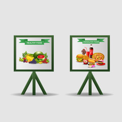 Nutritionist illustration. poster about dietetic healthy and unhealthy food. vector
