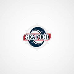 Vector Illustration labels and badges of seafood. Flat style design