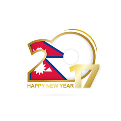 Year 2017 with Nepal Flag pattern. Happy New Year Design.
