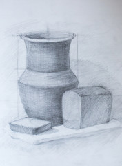 Still life, pencil drawing