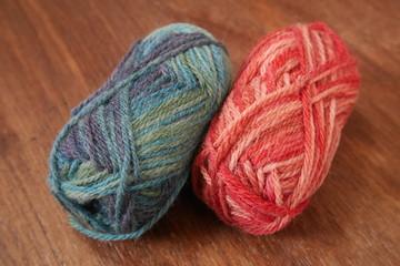 Blue and red woolen balls