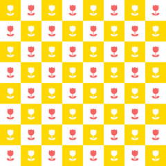 Seamless tulip flower checkered background