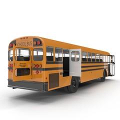 yellow school bus on white. Back door opened. 3D illustration