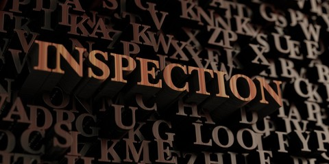 Inspection - Wooden 3D rendered letters/message.  Can be used for an online banner ad or a print postcard.