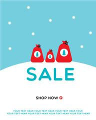 Christmas Sale design. Vector illustration. Three Santa Claus sacks with Christmas tree icon on the snow.