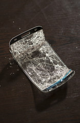 Broken screen for smartphone. Broken glass