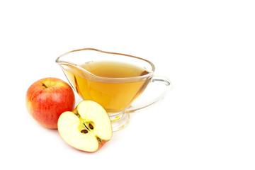 Apple vinegar and apples on white background