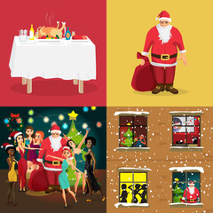 Christmas interior concept banners. Festive table, home party wi