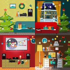 Set of christmas room interiors. Christmas tree, gift and decora