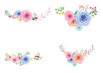Floral Watercolor painting on white background