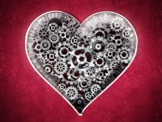 Metal cogs forming heart shape. 3D illustration