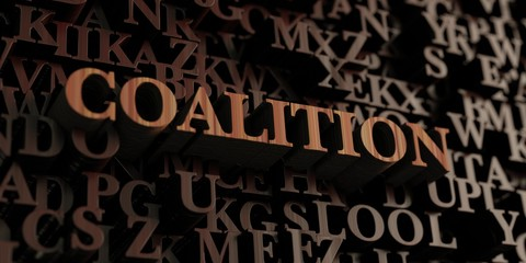 Coalition - Wooden 3D rendered letters/message.  Can be used for an online banner ad or a print postcard.
