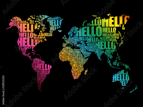 Hello Word Cloud World Map In Typography Background